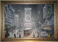 Art: New York Times Square: Christmas Eve 1920's by Artist J A Blackwell