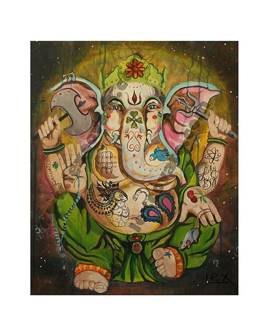 Art: Inked Lord Ganesh by Artist Alexis Covato