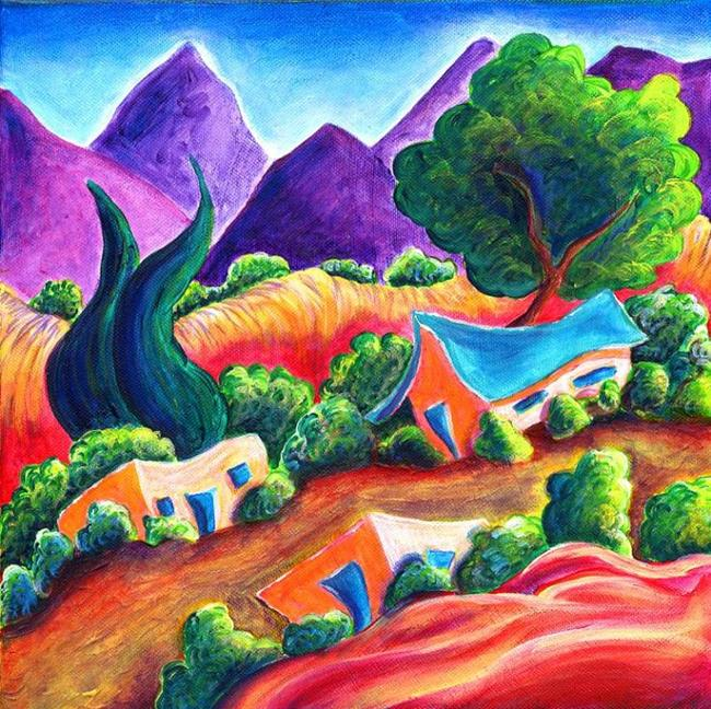 Art: Three Adobes by Artist Christine Wasankari