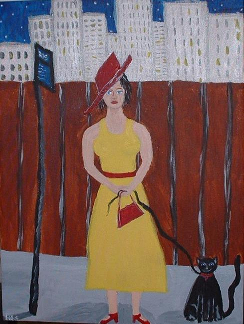 Art: Lady in Yellow Walking Her Cat by Artist Kathleen A. Roberson