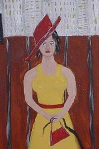 Detail Image for art Lady in Yellow Walking Her Cat