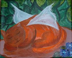Art: Sleep Well Orange Tabby by Artist Kathleen A. Roberson