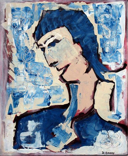 Art: Blue Haired Boy by Artist Diane G. Casey