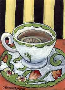 Art: A Lovely Cup of Tea with Lemon by Artist Catherine Darling Hostetter