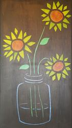 Art: Sunflowers in Jar by Artist Dee Turner