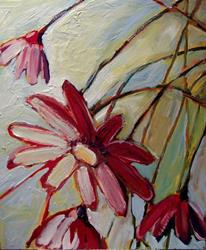 Art: Wild Daisies in Red by Artist Jennifer Lommers