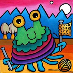 Art: Brian the Bug Learns to Knit by Artist Amanda Hone