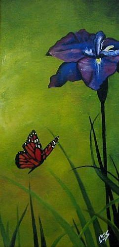 Art: The Iris and the Monarch by Artist Christine E. S. Code ~CES~