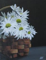 Art: Basket of Daisies by Artist Christine E. S. Code ~CES~
