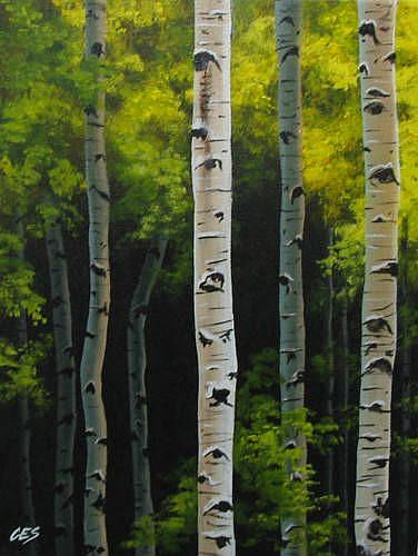 Art: Birch Forest by Artist Christine E. S. Code ~CES~
