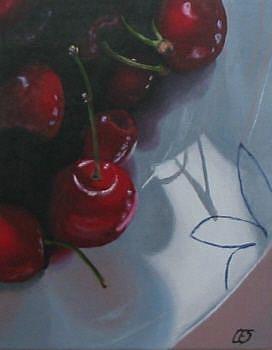 Art: Bowl of Cherries by Artist Christine E. S. Code ~CES~