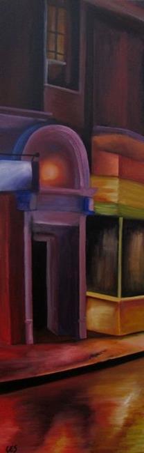 Art: Rainy Street in Paris by Artist Christine E. S. Code ~CES~
