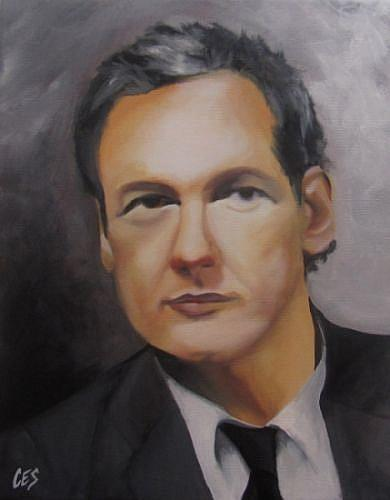 Art: Julian Assange by Artist Christine E. S. Code ~CES~