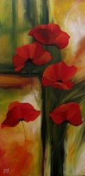 Art: Abstract Poppies by Artist Christine E. S. Code ~CES~