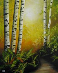 Art: Birch and Ferns by Artist Christine E. S. Code ~CES~