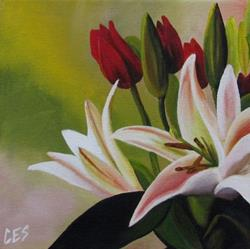 Art: Tulips and Lillies by Artist Christine E. S. Code ~CES~