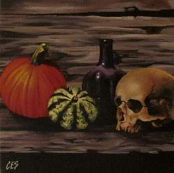 Art: Halloween Still Life by Artist Christine E. S. Code ~CES~