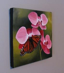 Detail Image for art Orchids and Monarch Butterfly