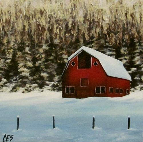 Art: Red Barn by Artist Christine E. S. Code ~CES~