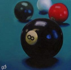 Art: Pool Balls 8, 3, 6, and Cue by Artist Christine E. S. Code ~CES~