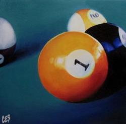 Art: Pool Balls1, 8, 9, and 14 by Artist Christine E. S. Code ~CES~