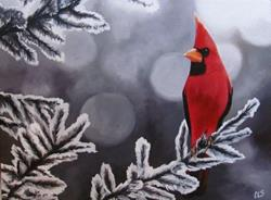 Art: Winter Cardinal by Artist Christine E. S. Code ~CES~
