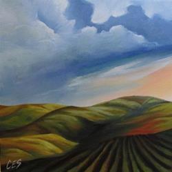 Art: Farmland in the Hills by Artist Christine E. S. Code ~CES~