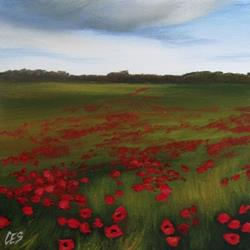 Art: Rain Clouds Over the Poppy Field by Artist Christine E. S. Code ~CES~