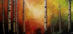 Art: Custom Painting: Autumn Evening Birch by Artist Christine E. S. Code ~CES~