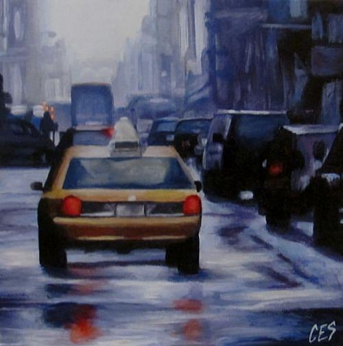 Art: Taxi on a Rainy Street by Artist Christine E. S. Code ~CES~