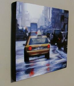 Detail Image for art Taxi on a Rainy Street