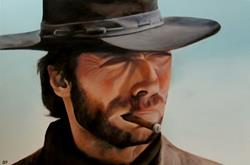 Art: Custom Painting: Clint Eastwood by Artist Christine E. S. Code ~CES~