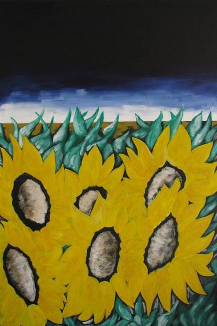 Art: Stormy Sunflowers by Artist Indiamoss