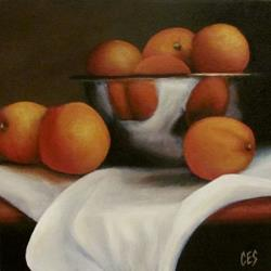 Art: Oranges and Linen by Artist Christine E. S. Code ~CES~