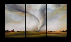 Art: Commissioned Tornado Triptych by Artist Christine E. S. Code ~CES~
