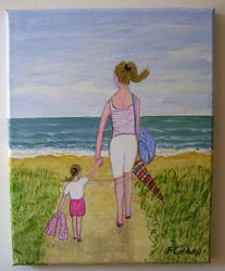 Art: Beach Picnic (Sold) by Artist Fran Caldwell