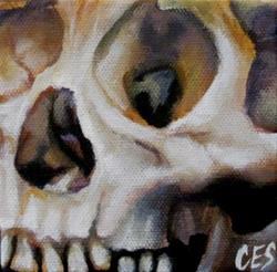 Art: 29 Faces in February: Skull #3 by Artist Christine E. S. Code ~CES~