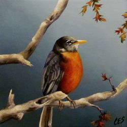 Art: Little Robin Redbreast by Artist Christine E. S. Code ~CES~