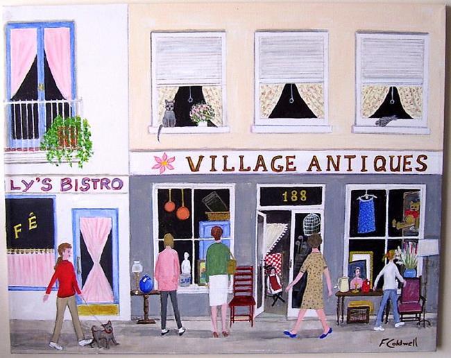 Art: Village Antiques by Artist Fran Caldwell