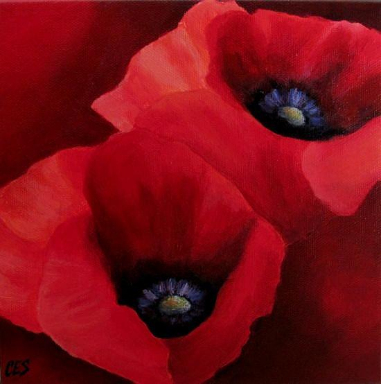 Art: Red Poppies by Artist Christine E. S. Code ~CES~
