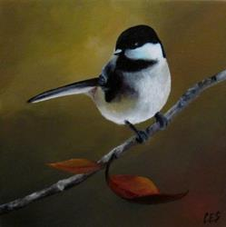 Art: Chickadee in Autumn by Artist Christine E. S. Code ~CES~
