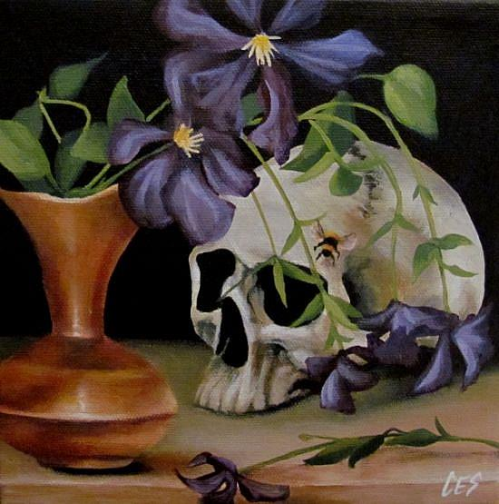 Art: Clematis Vanitas by Artist Christine E. S. Code ~CES~