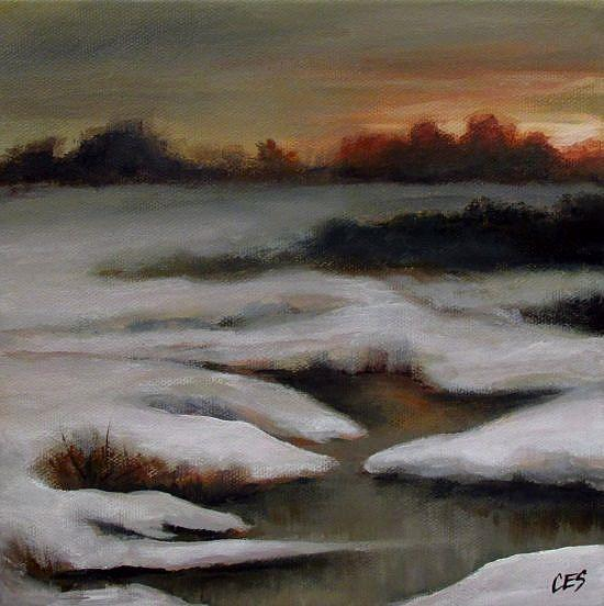 Art: Sunset Over Snowy Creek by Artist Christine E. S. Code ~CES~