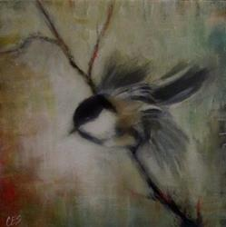 Art: Chickadee Lift Off by Artist Christine E. S. Code ~CES~