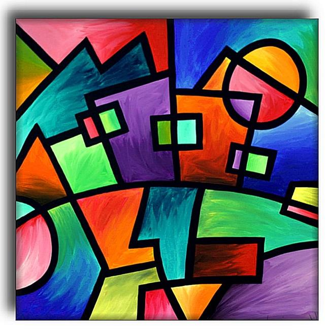Sunset over suburbia by amanda hone from abstract for Artists who use shapes in their paintings