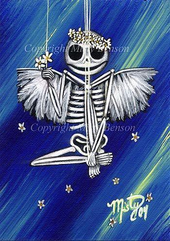 Art: Flowers in Her Hair Skeleton Art by Artist Misty Monster (Benson)