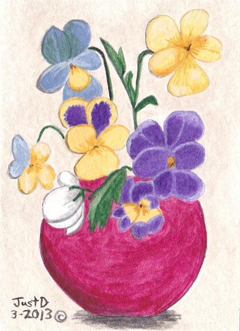 Art: Pot of Pansies by Artist Dee Turner