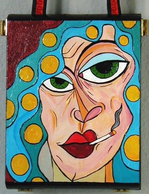 Art: Blue Hair, Smoking, Rollers Cigar Box Purse by Artist Jen Thario