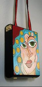 Detail Image for art Blue Hair, Smoking, Rollers Cigar Box Purse