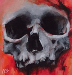 Art: Halloween Skull by Artist Christine E. S. Code ~CES~